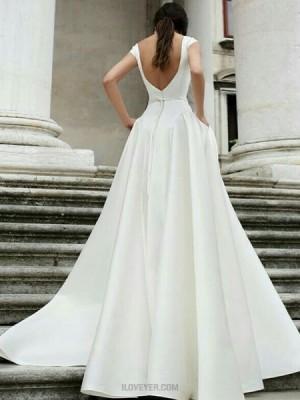 Simple Jewel White A Line Satin Wedding Dress With Pockets