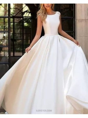 Simple Jewel White Pleated Satin Fall Wedding Dress With Appliques