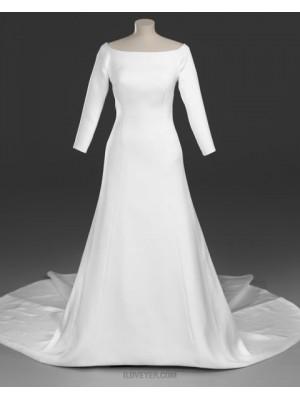 Scoop Simple Sheath Satin Royal Wedding Dress With 3 4 Length Sleeves
