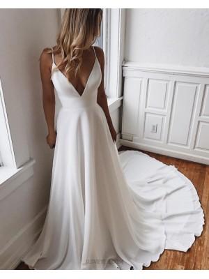 Simple Spaghetti Straps Chiffon White Wedding Dress With Court Train