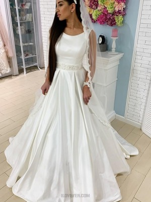 Jewel White Simple Satin Fall Wedding Dress With Beading Belt