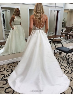 Jewel White Satin A Line Simple Fall Wedding Dress With Pockets