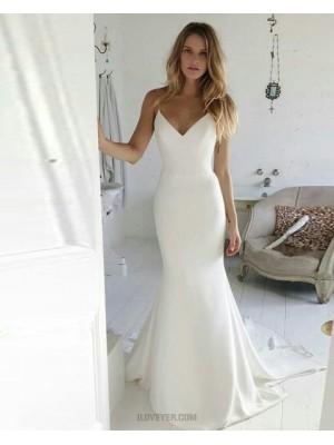 Simple Spaghetti Straps Satin Mermaid White Wedding Dress