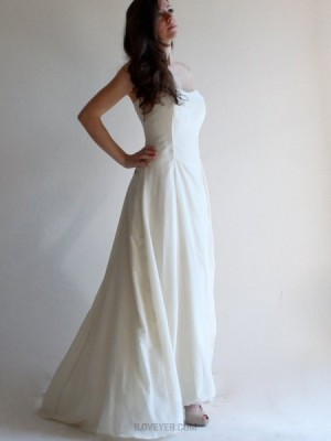 Simple Strapless Satin Ivory Simple Beach Wedding Dress With Lace Up