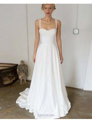 Simple Square Satin A Line Pleated White Beach Wedding Dress