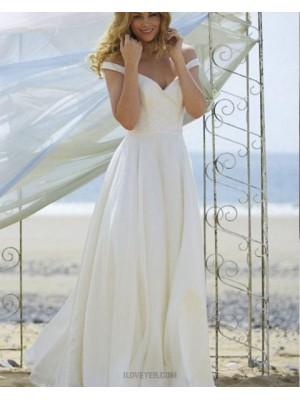 Off The Shoulder Ruched Simple Ivory Wedding Dress