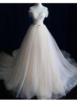 Simple Off The Shoulder Champagne Tulle Pleated Wedding Dress