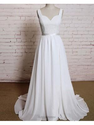 Simple V Neck Ivory Lace Bodice Tulle Wedding Dress