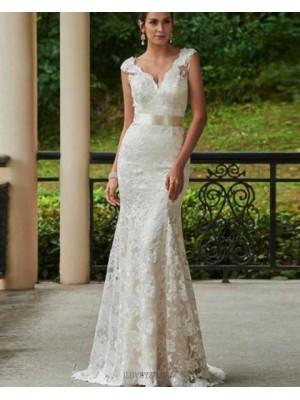 Classic V Neck Vintage Ivory Lace Mermaid Wedding Dress