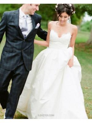 Simple Spaghetti Straps Lace Bodice Satin Wedding Dress