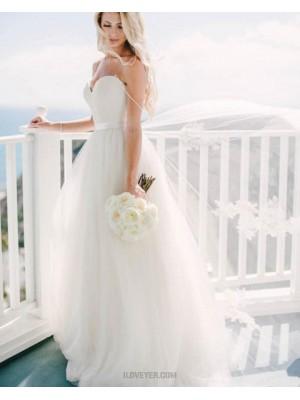 Simple Sweetheart Ivory Pleated Tulle Wedding Dress