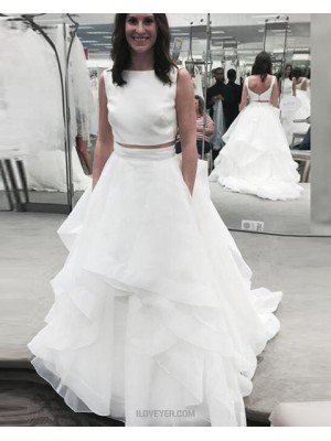 Jewel White Two Piece Ruffle Simple Wedding Dress
