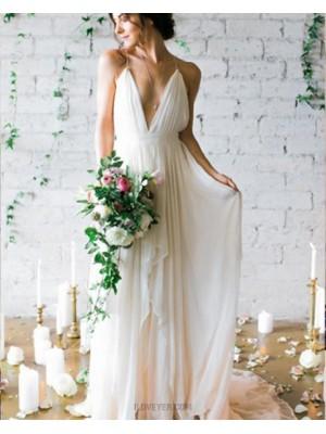 Simple Spaghetti Straps Pleated Chiffon Beach Wedding Dress