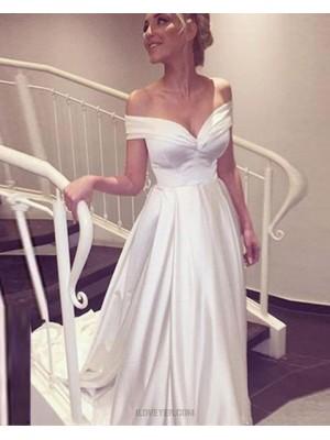 Off The Shoulder Ivory Satin Simple Wedding Dress