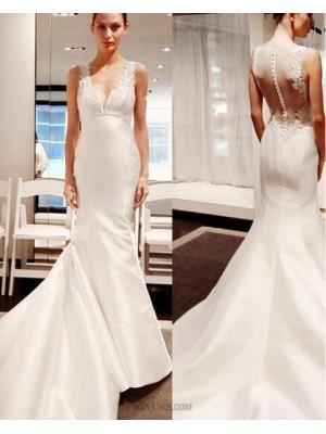 Simple Ivory V Neck Applique Satin Mermaid Wedding Dress