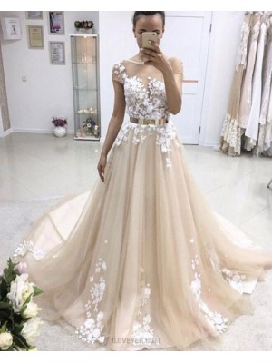 Jewel Champagne Lace Applique Pleated Wedding Dress With Short Sleeves