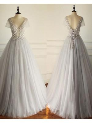 V Neck Grey Beading Bodice Pleated Tulle Wedding Dress With Short Sleeves