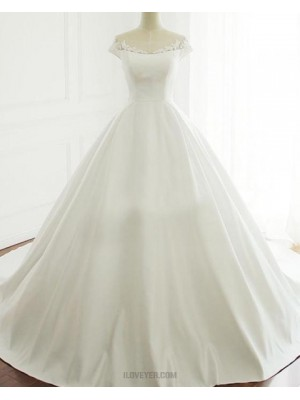 Scoop Lace Applique A Line Satin Fall Wedding Dress With Short Sleeves