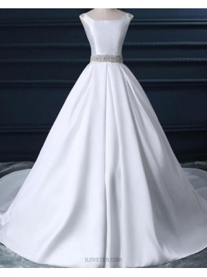 Simple Scoop White Satin Fall Wedding Dress With Beading Belt