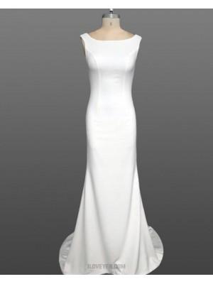 Simple Scoop White Mermaid Satin Wedding Dress