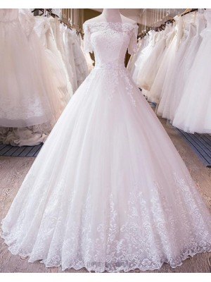 Off The Shoulder Applique White Wedding Dress With Short Sleeves