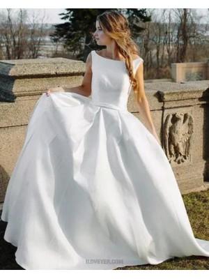 Bateau White Simple Satin A Line Wedding Dress