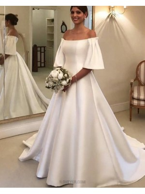 Off The Shoulder White Satin A Line Wedding Dress With Short Sleeves