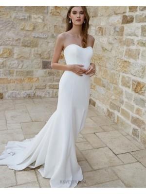Simple Sweetheart White Satin Mermaid Wedding Dress For Fall