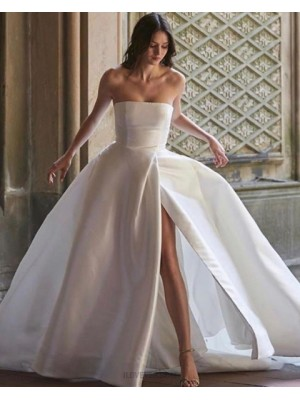 Simple Strapless Satin White Wedding Dress For Fall With Slit