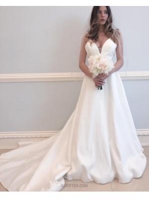 Simple Spaghetti Straps Satin A Line Wedding Dress