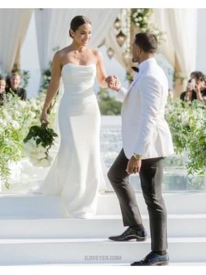 Simple Strapless White Sheath Wedding Dress For Spring