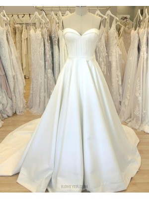 Simple Sweetheart Satin White Wedding Dress With Court Train