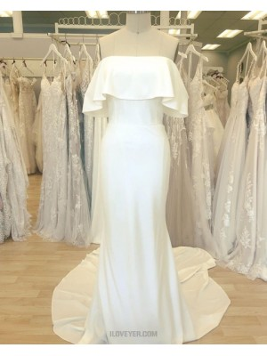 Simple Cowl Neckline White Satin Sheath Wedding Dress
