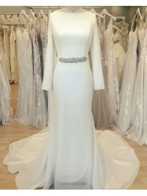 Simple Bateau Neckline White Satin Sheath Wedding Dress With Long Sleeves