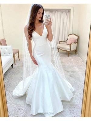 Simple Spaghetti Straps White Mermaid Wedding Dress