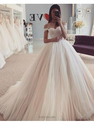Simple Off The Shoulder Ivory Tulle Pleated Wedding Dress