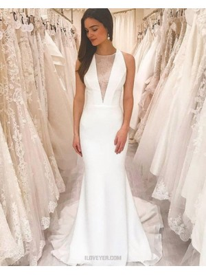 Simple Jewel Neckline White Sheath Wedding Dress With Court Strain