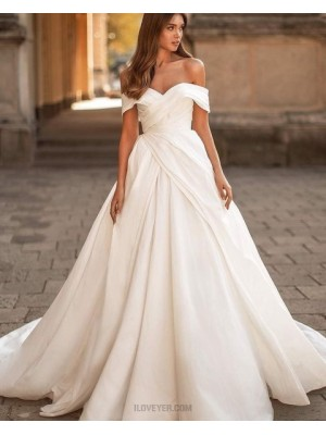 Simple Off The Shoulder White Ruched Satin Wedding Dress