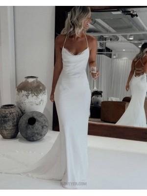 Simple Halter White Mermaid Wedding Dress With Court Train